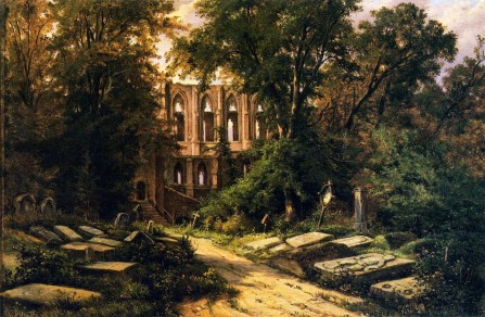 Herman Lungkwitz, Cemetery by a Ruined Gothic Church, XIX sec.