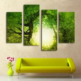4-Panel-Canvas-Painting-Spring-Art-Picture-Sunshine-through-Big-Tree-full-of-green-leaves-Home