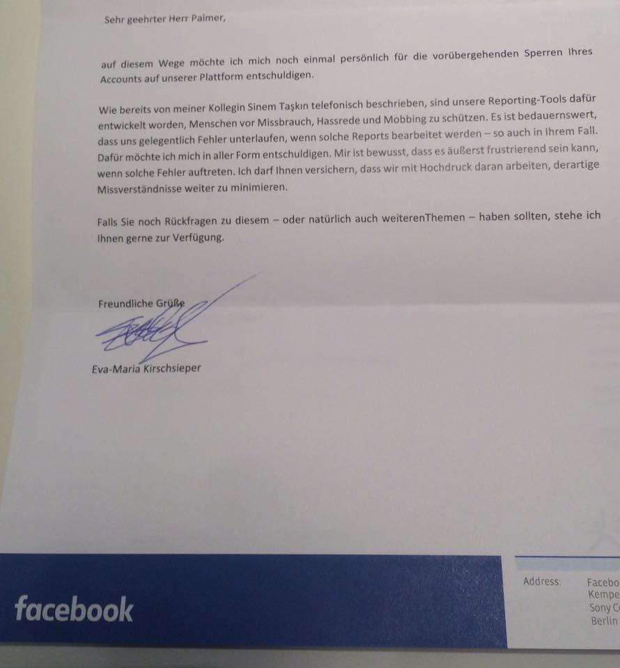 Palmer Brief von Facebook