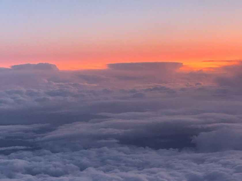 amazing scenery of fluffy clouds in high altitude
