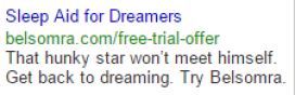 Sleep Aid For Dreamers Google Search Ad