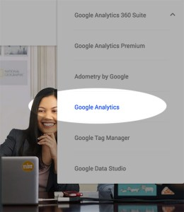 Google Analytics Sign In menu