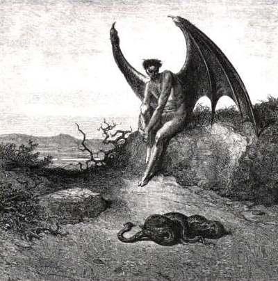 Lucifer sitting on a rock