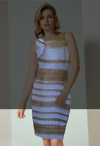 The same conditions as in Fig. 2, but set out above and below, rather than right and left. Many will see the dress as blue-and-black at the bottom, and white-and-gold at the top: and it's the relative lightness in the relevant surroundings that seems to be cue.