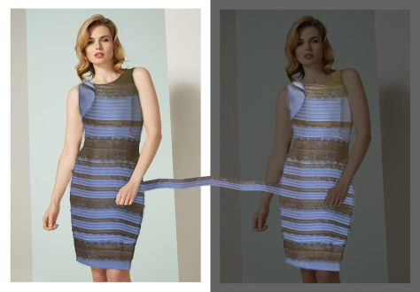 """Figure 2: """"Photoshopped"""" combination of the Tumblr photo and the Publicity photo. Left: The model of the publicity photo (unadjusted in colour) has been given a cut-out of the dress from the Tumblr photo (also colour-unadjusted). Most people (I think) will see the dress as blue-and-black (but more pale than in Fig. 1, given that there isn't the extreme yellow of the flesh tones in that image). Right: Here the model (and background) have been darkened, and the dress 'lights up', looking to most people white and gold. This is the kind of context that the white-and-gold seers of the original Tumblr Dress treat it as having: they see (e.g.) as if it were in a darkened store, with bright light, contrasting, outside and behind. No wonder it looks white and gold in that context. The dress itself is the same (as pixels on the screen) in both images: as the strip connecting them shows."""