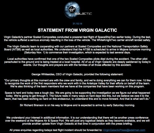Virgin Galactic Website Statement