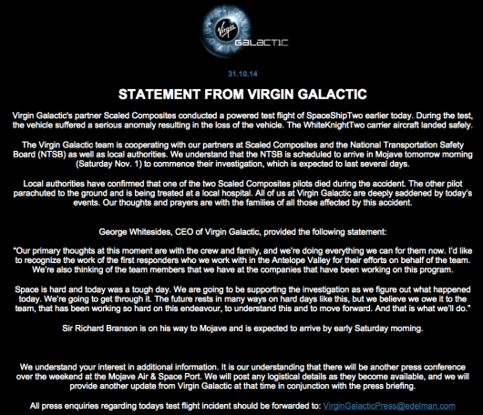 Virgin Galactic Website Statement