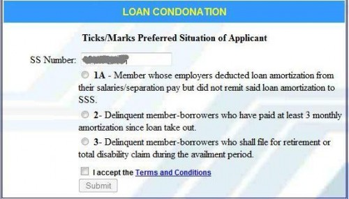 How to apply for sss loan condonation program online agree with the terms and conditions spiritdancerdesigns Gallery