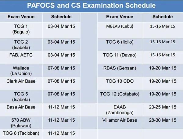 philippine airforce exam schedule 2015