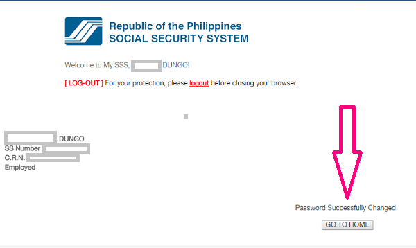 change sss password