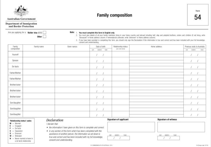 family composition australia tourist visa