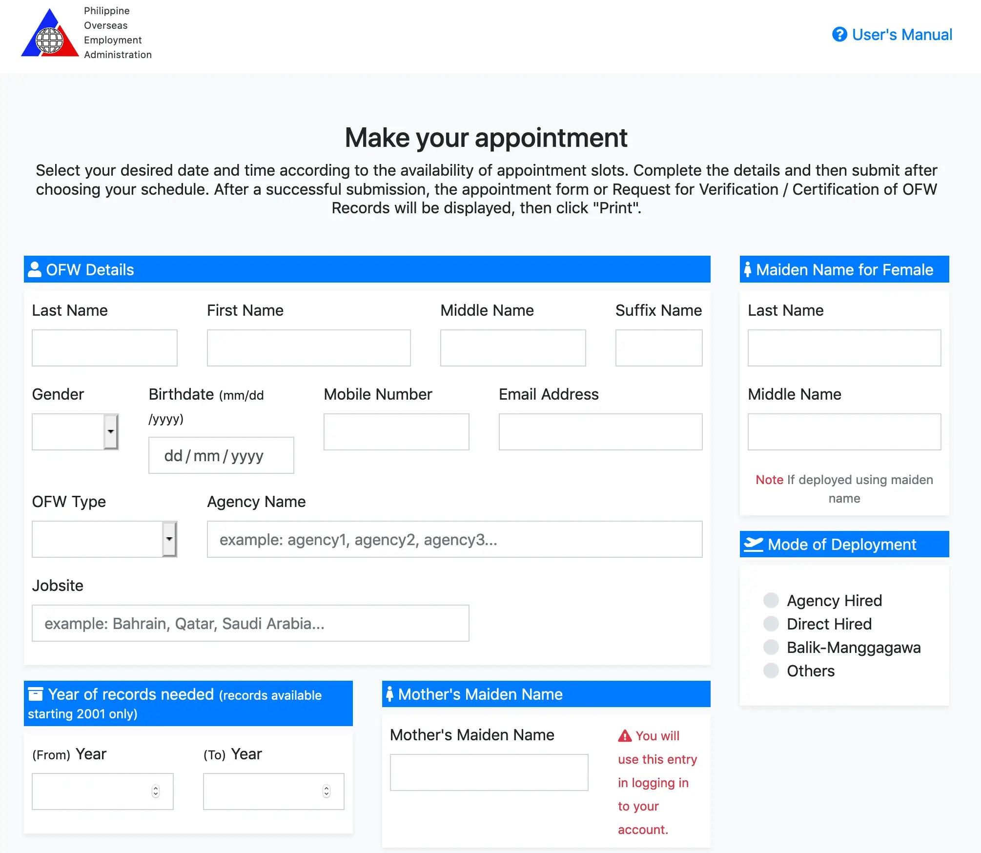 ofw application form