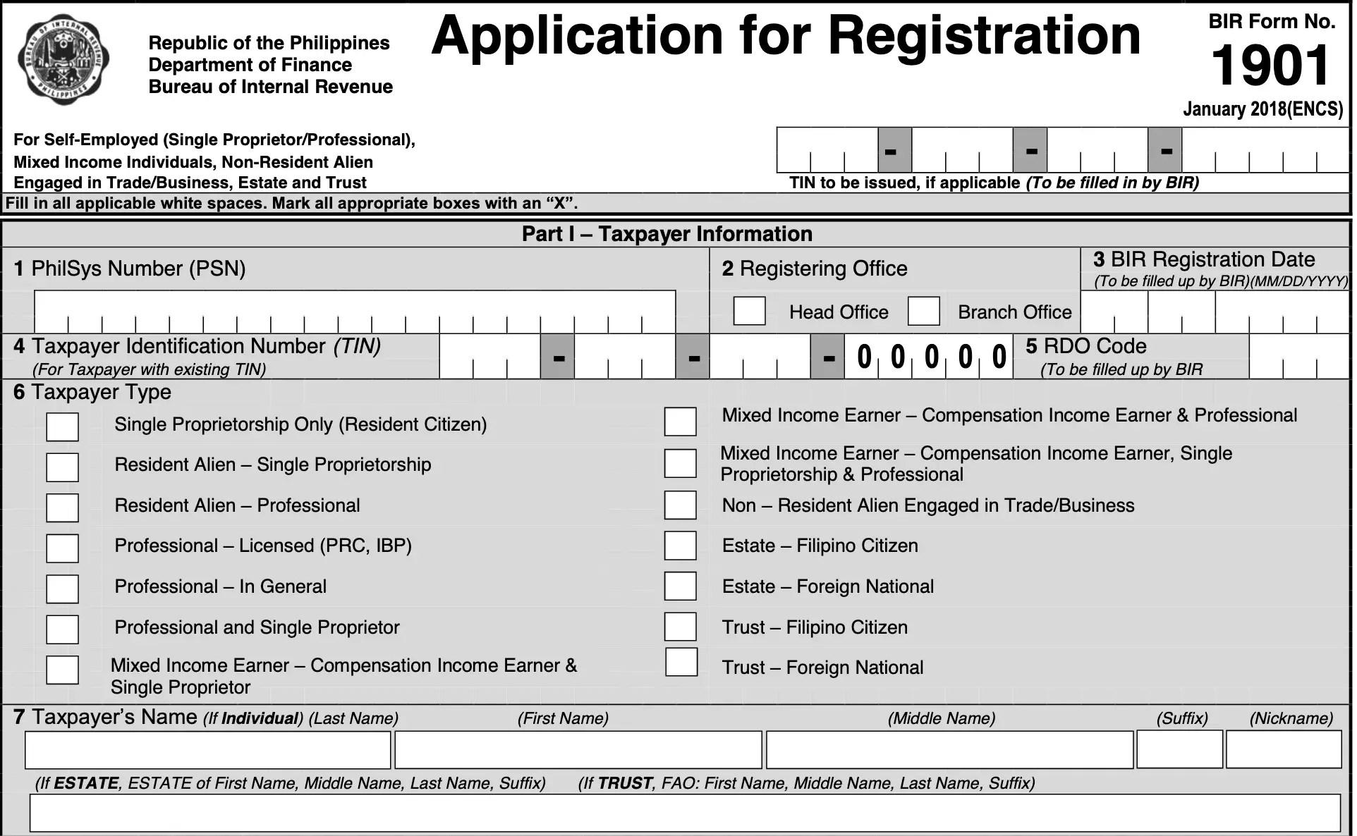 single proprietorship bir application