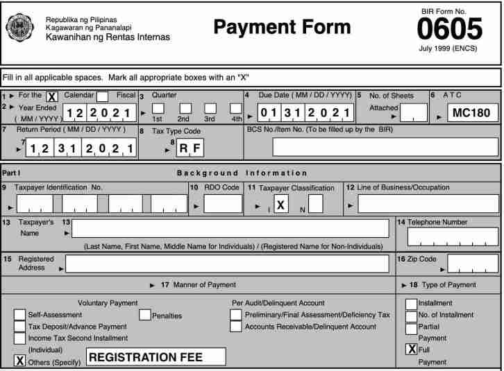 how to file bir form 0605 annual registration fee