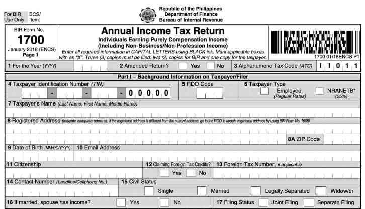 new bir form 1700