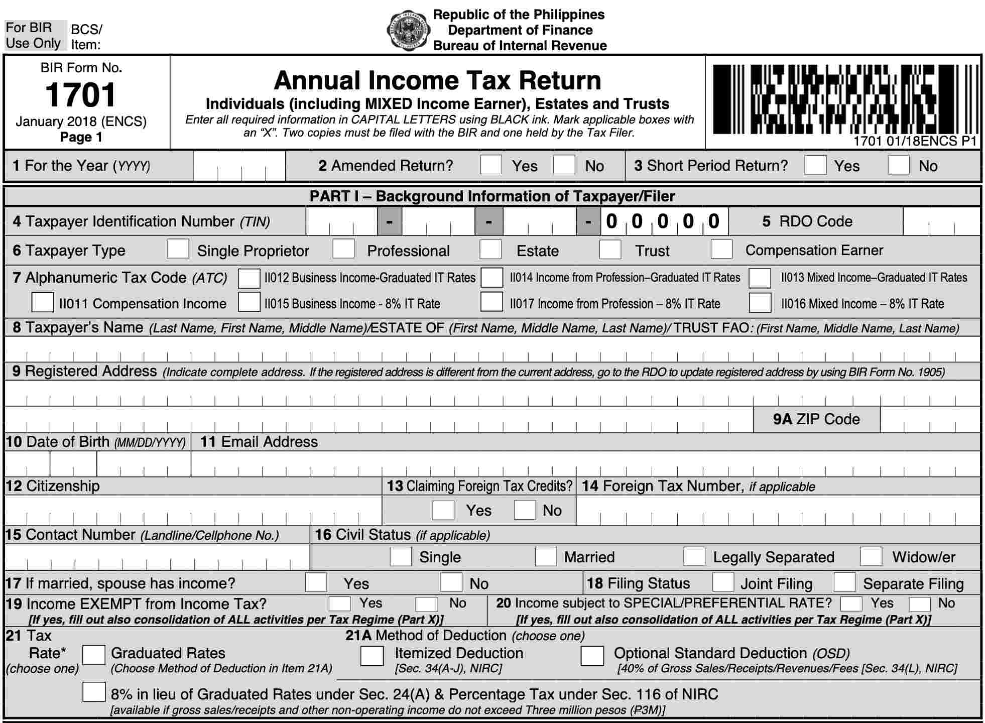 new bir form 1701