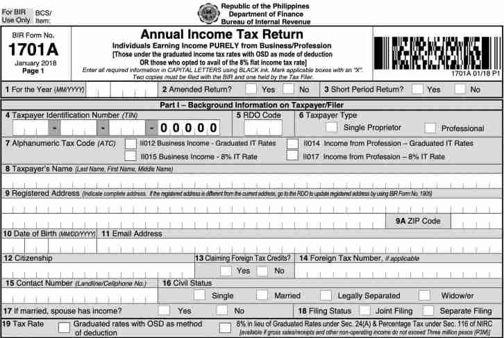new bir form 1701A