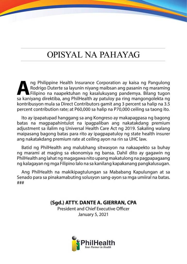 philhealth official statement