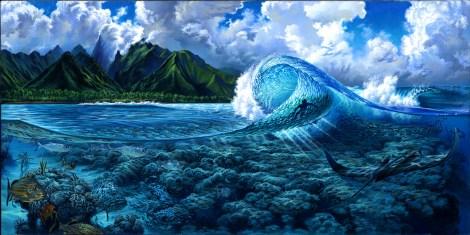 Teahupoo Tahiti Oil Painting by Phil Roberts