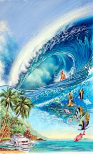 Ultimate Wave Tahiti Movie Poster Watercolor Painting featuring Kelly Slater by Phil Roberts