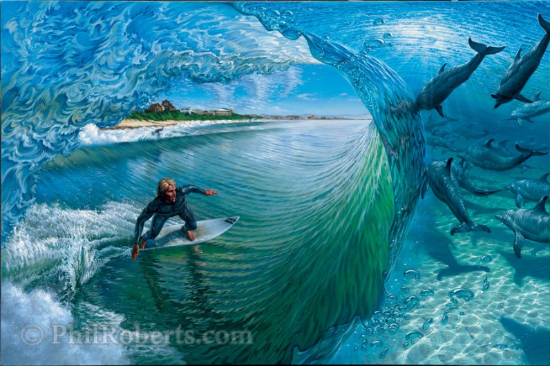Painting for the Billabong Pro Jay Bay Event by Phil Roberts