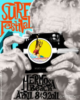 Surf Festival Event Poster Art of LeRoy Grannis and Dewey Weber by Phil Roberts