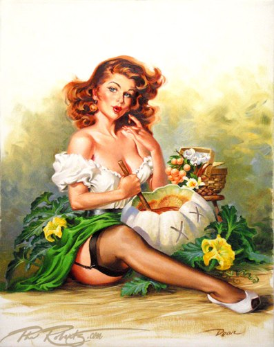 pinup girl white pumpkin poonshine redhead painting by Phil Roberts