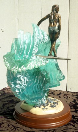 Girl Surfer X step bronze & resin sculpture