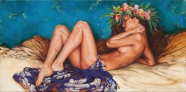 """Slumber in Aqua"" Original Oil Painting SOLD Fine Art Canvas Print BUY NOW >> 12""x24"" Canvas $175"