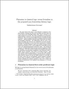 Platonism in classical logic versus formalism in the