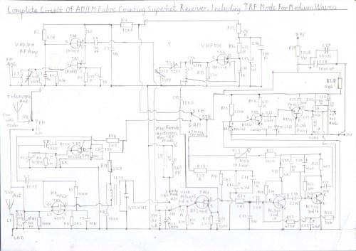 small resolution of complete circuit diagram of am fm superhet receiver configuration and trf mode using a ferrite rod antenna for medium waves this is the full version