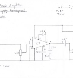 suggested audio amplifier circuit for fm tuner please refer to the component list in the text  [ 1794 x 1019 Pixel ]
