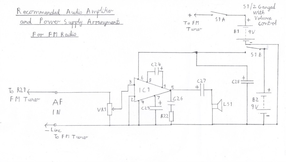 medium resolution of suggested audio amplifier circuit for fm tuner please refer to the component list in the text