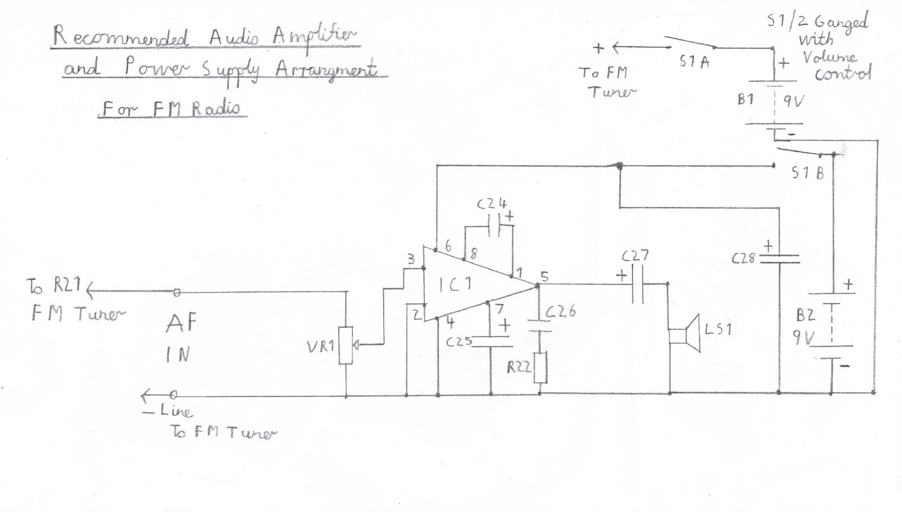 hight resolution of suggested audio amplifier circuit for fm tuner please refer to the component list in the text