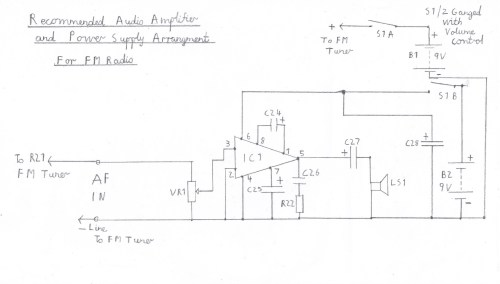 small resolution of suggested audio amplifier circuit for fm tuner please refer to the component list in the text