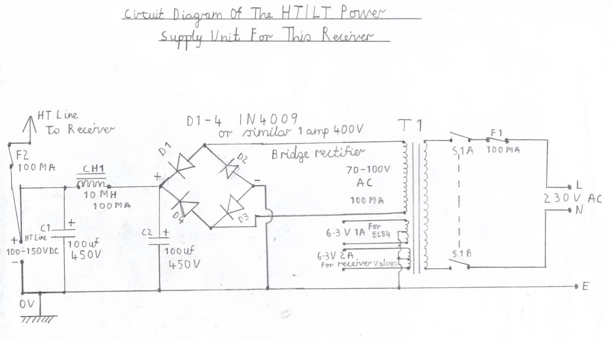 hight resolution of circuit diagram of the ht power supply circuit for the 7 valve superhet receiver