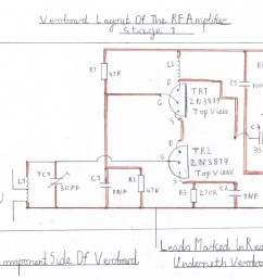 wiring diagram of the rf amplifier this stage is wired and tested after the vhf receiver is known to work ok this now completes the constuction  [ 1757 x 1329 Pixel ]