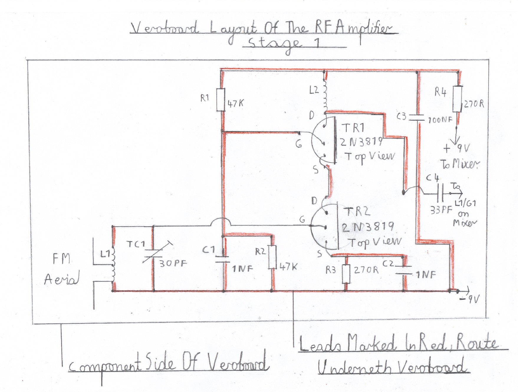 hight resolution of wiring diagram of the rf amplifier this stage is wired and tested after the vhf receiver is known to work ok this now completes the constuction