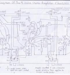wiring diagram of the 3 valve stereo amplifier chassis please refer to picture 1 and components list for component values  [ 1169 x 850 Pixel ]