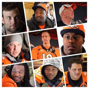 Portraits of the Denver Broncos taken during a press conference prior to Super Bowl XLVIII