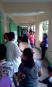 Voters waiting their turn at the corridors