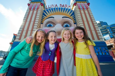 Matilda's Georgia, Bella, Sasha and Molly at Luna Park Sydney. Credit DNSW and James Morgan