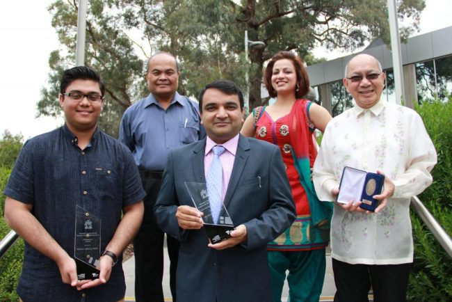 Photo shows Manny Asuncion (right), who was conferred the Victorian Multicultural Commission' Award for Meritorious Service to the Community. With him in the photo are Wyndham City Council VMC awardees and Walter Villagonzalo (back, left) who was shortlisted for the top VMC volunteer award in Victoria.