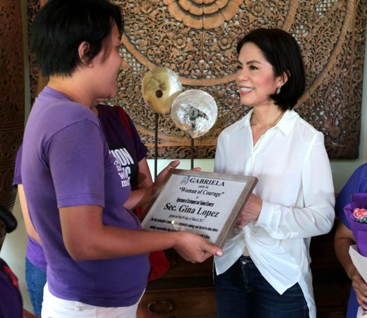 """Gabriela recognises Gina Lopez as """"woman of courage"""""""