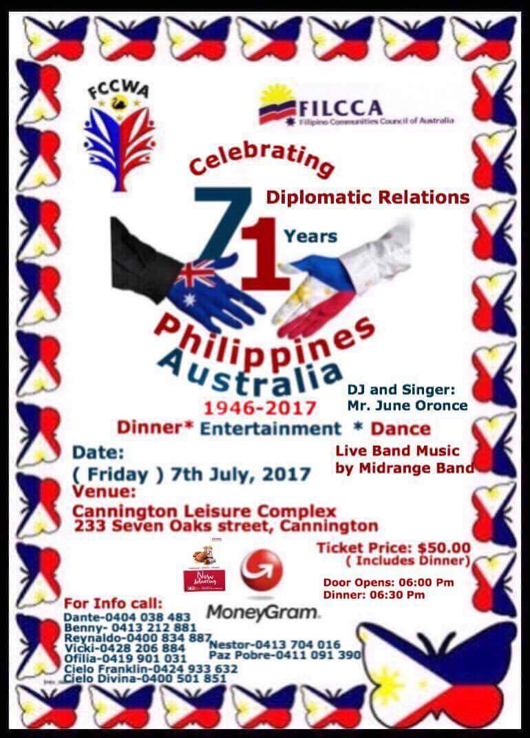 FCCWA Dinner Dance celebrating 71st Philippines Australia Diplomatic Relations