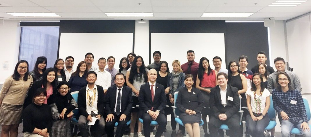 Filipino-Australian students with Honorary Consul Felix Pintado and Ambassador Minda Cruz