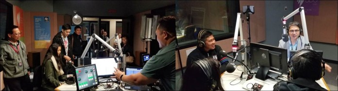 (LEFT) SBS Radio Filipino stalwart Louie Tolentino (leftmost) with ASAP Business Unit Head Joyce Liquicia and cameraman Ryan Neri oversee preparations for the radio interview of Ylona Garcia and Robi Domingo inside the radio booth. (RIGHT) SBS Filipino talk show host Ronald Manila is shown interviewing ABS-CBN Australia Country Manager Jay Santos (left), Ylona Garcia and Robi Domingo. (Photos by Nerissa Fernandez)