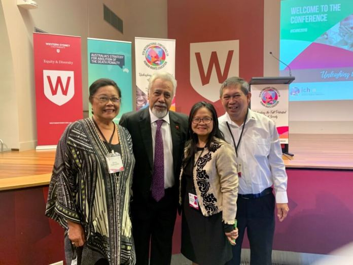 From left Dr Zeny Edwards Immediate Past Program Director, United Nations Association of Australia ( UNAA) Peace Program, Dr Xanana Gusmao, First President, Timor Leste, Serna Ladia, President, PCC - NSW and Jun Relunia, Adviser, Philippine Community Engagement UNAA Peace Program