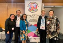 Filipino Delegates to the 9th International Conference on Human Rights Education From left Claire Lacdao ( Centre for Indigenous Filipinos), Jun Relunia, Adviser Philippine Community Engagement UNAA Peace Program, Serna Ladia, President PCC - NSW, Sister Patricia Fox who was a guest speaker and Zeny Edwards Immediate Past Director, UNAA Peace Program. Not in photo student representative Divina Ambat, Year 10 student, Rooty Hill High School, Australia who was a member of the panel - Advancing Human Rights : Myths and Realities.