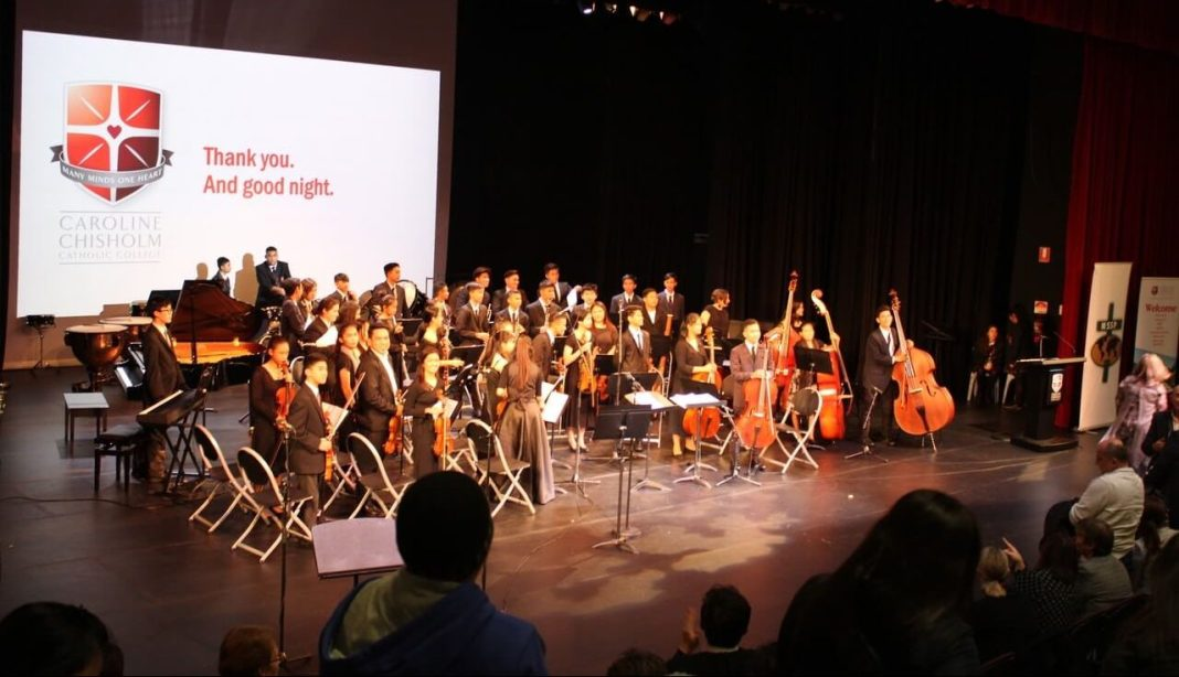 The Jose De Piro Kabataan Orchestra performing at the Caroline Chisholm Catholic College, Braybrook, Victoria.